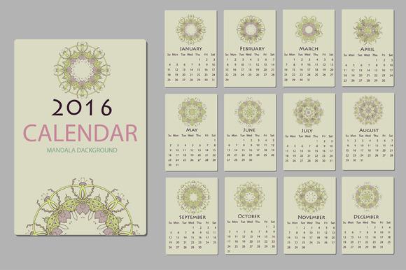 2016 Calendar With Mandala