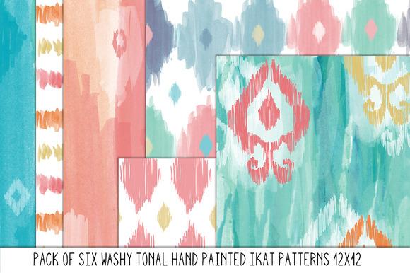 Hand Painted Tonal Ikat Patterns