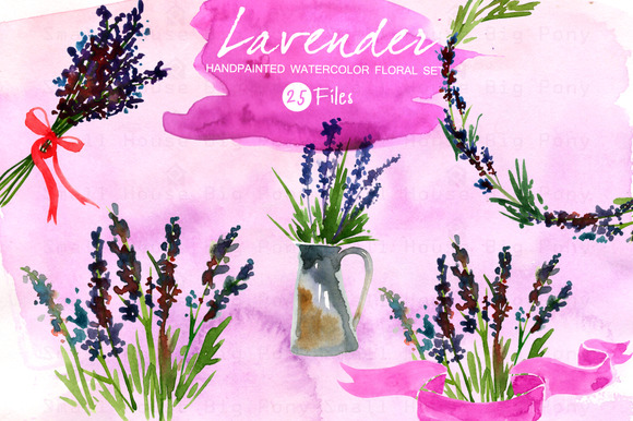 Lavender Set- Watercolor Clip Art