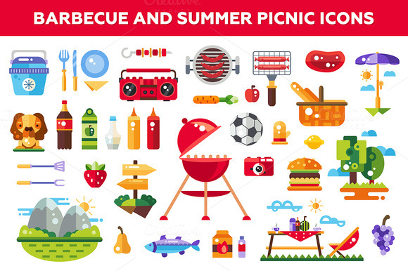 Barbeque Summer Picnic Icons Set