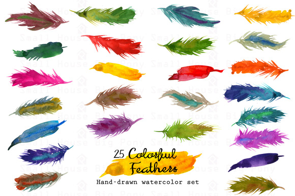 Colorful Feathers-Watercolor
