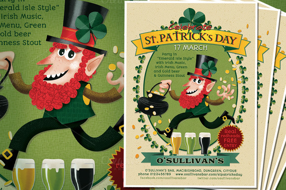 Irish Leprechaun Flyer Horizontal