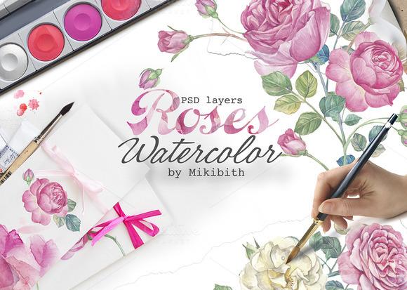 Hand Drawn Watercolor English Roses