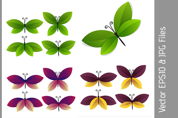 Set Of Bright Butterflies