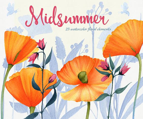 Midsummer Watercolor Floral Set