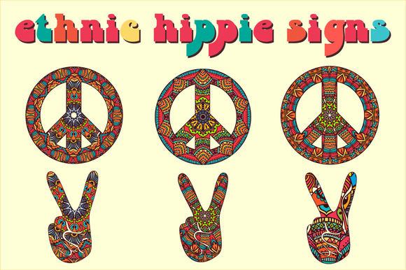 6 Ethnic Hippie Signs Vector