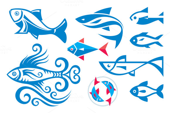 9 Fishes Vector Sign Illustrations