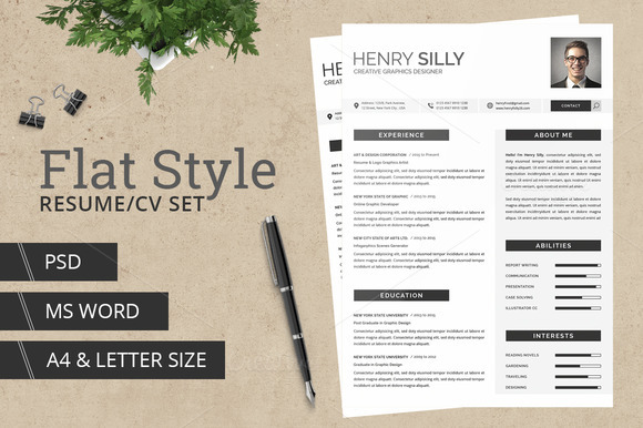 Flat Style Resume CV With MS Word