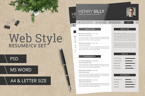 Web Style Resume CV With MS Word