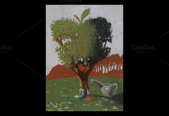 Apple Tree Handmade Illustration