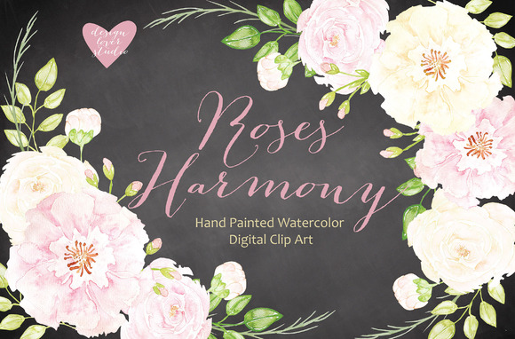 Watercolor Roses Harmony Cliparts