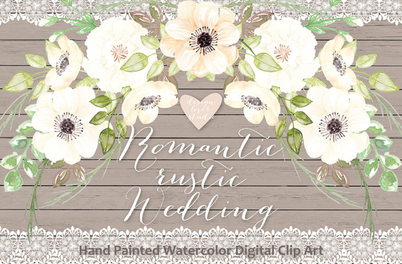 Watercolor Romantic Rustic Clipart