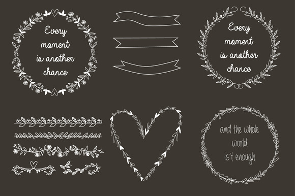 Hand Draw Set Of Wreaths
