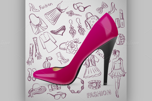 Modern Womens Shoes And Hand Draw