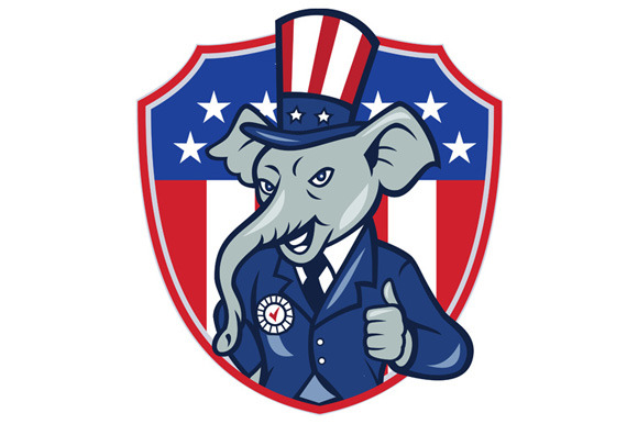 Republican Elephant Mascot Thumbs Up