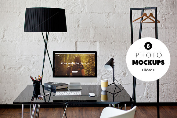 IMac B W Workspace 6 Photo Mockups