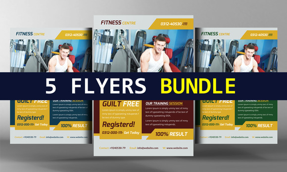 5 Fitness Health Club Flyers Bundle