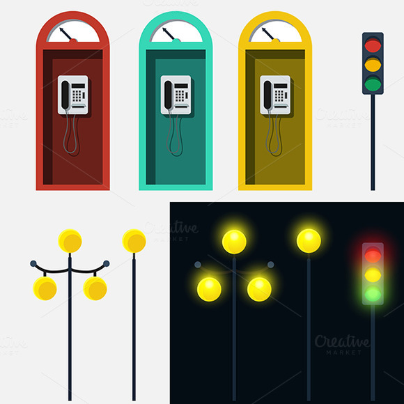 Set Of Phone Booth Lamp And Traffic