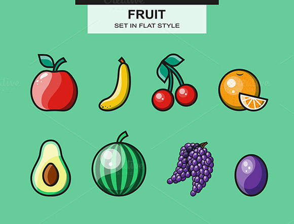 Fruit Set In A Flat Style With A Str