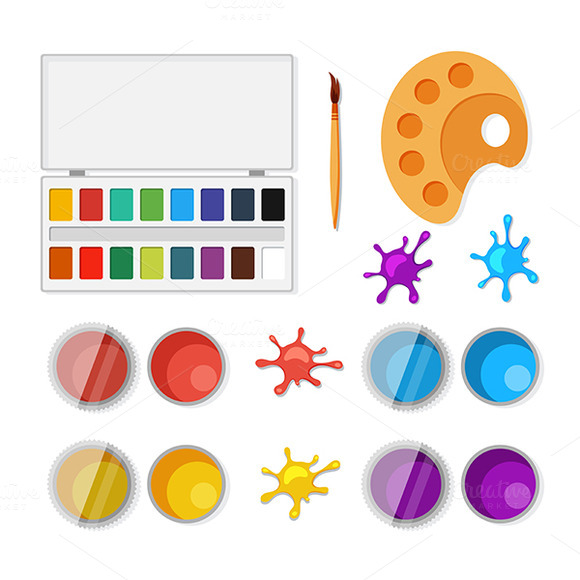 Set Of Objects For Artists In Flat