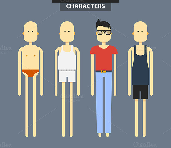Set Of Characters In Different Cloth