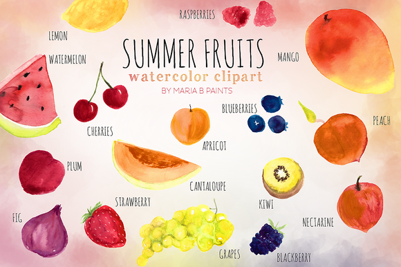 Summer Fruit Watercolor Clip-art