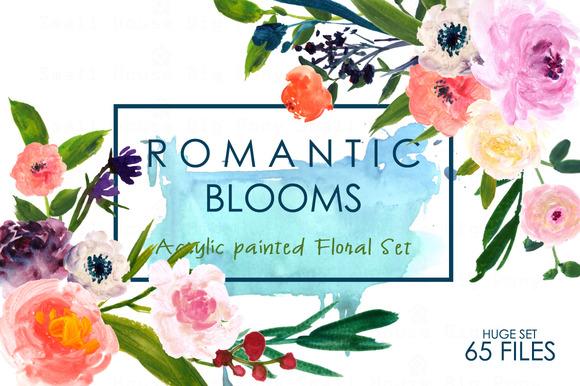 Romantic Blooms-Watercolor Clip Art