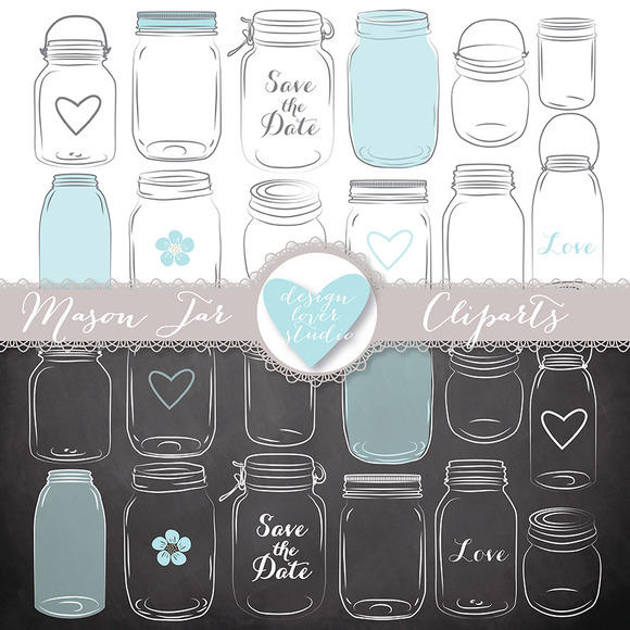 Vector Mason Jar Clipart