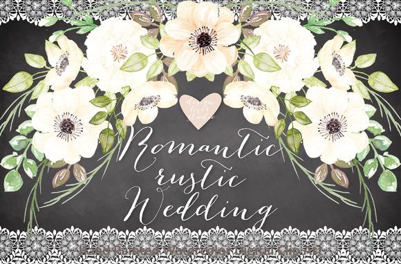 Watercolor Romantic Rustic Clipart