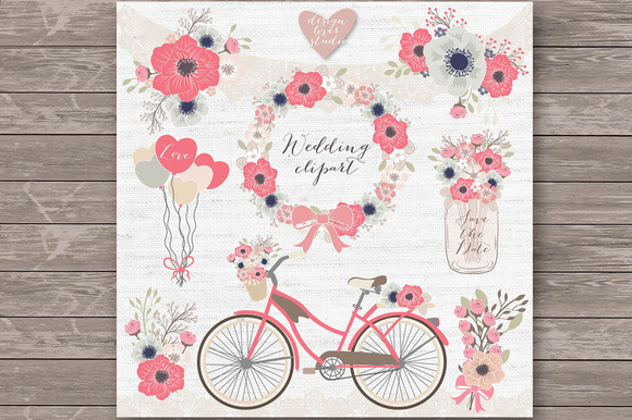 Vector Bicycle Wedding Clipart 2