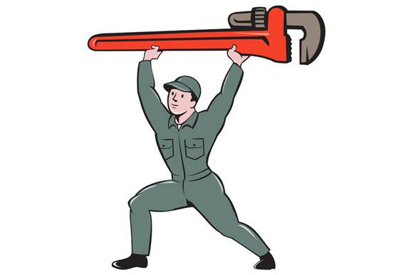 Plumber Lifting Monkey Wrench Cartoo