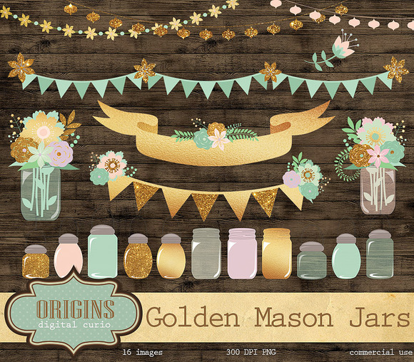 Golden Mason Jars Clipart