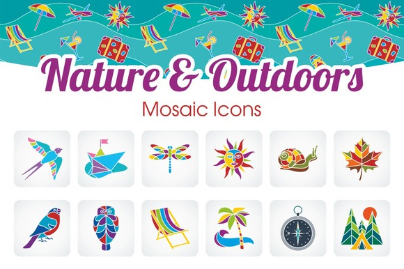 Nature Outdoors Icons Set