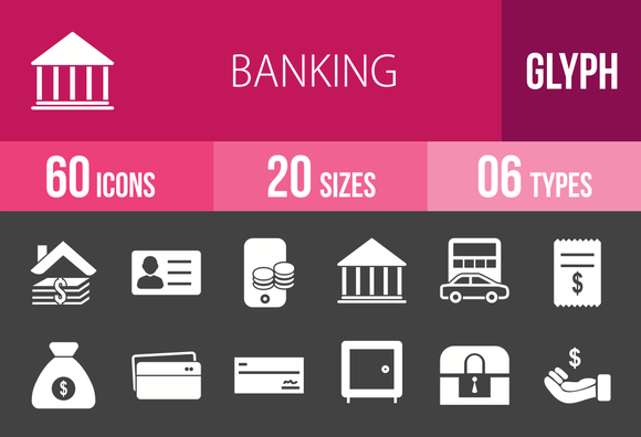 60 Banking Glyph Inverted Icons