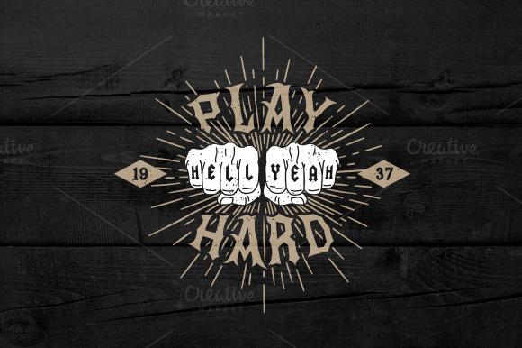 Vintage Label Play Hard Hell Yeah