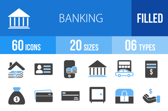 60 Banking Blue Black Icons