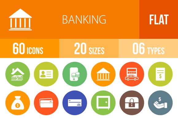60 Banking Flat Round Icons