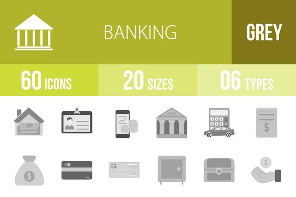 60 Banking Greyscale Icons