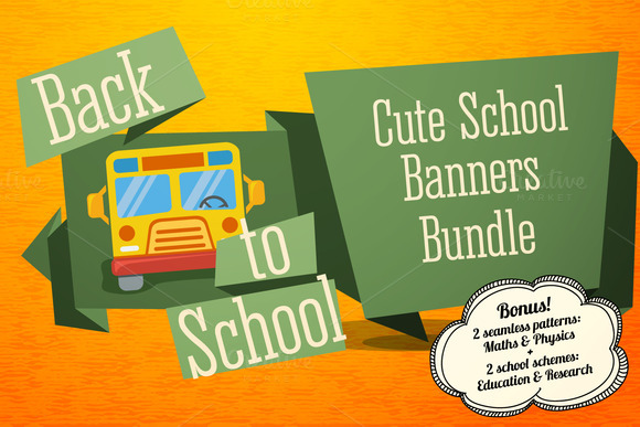Set Of Cute School Banners Bonus