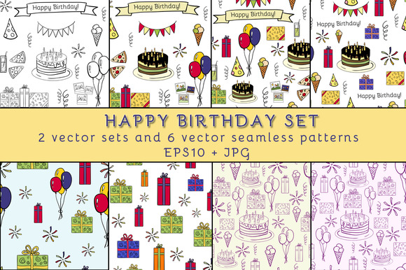 Happy Birthday Cute Vector Set