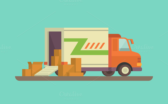Unloading Or Loading Delivery Truck