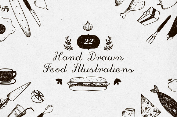 22 Food Emblems Illustrations