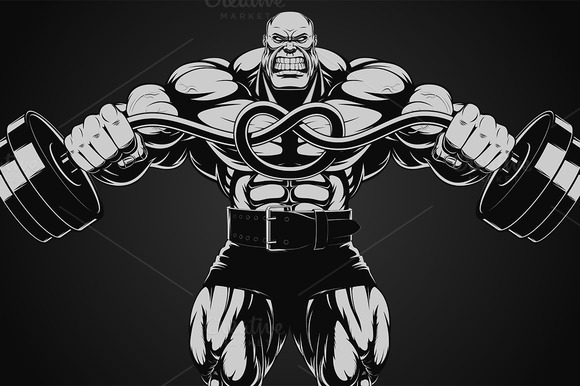 Illustration Bodybuilder With Dumbbe