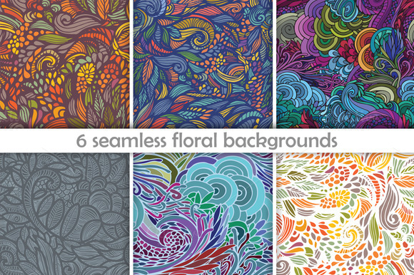 6 Seamless Floral Backgrounds