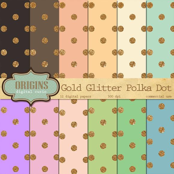 Gold Glitter Confetti Digital Paper