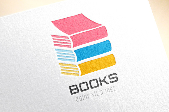 Book Color Stack Template Logo Icon