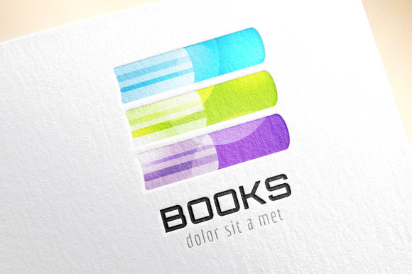 Book Stack Template Logo Icon Color