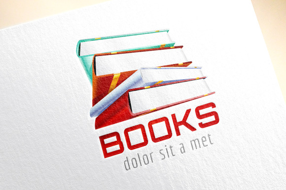 Book Template Logo Icon 3D Stack
