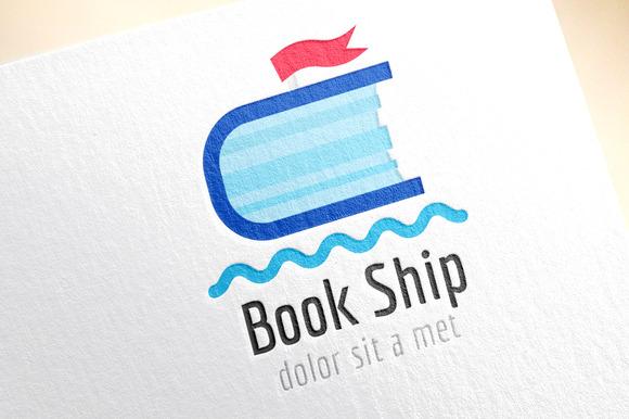 Book Ship Template Logo Icon Sea