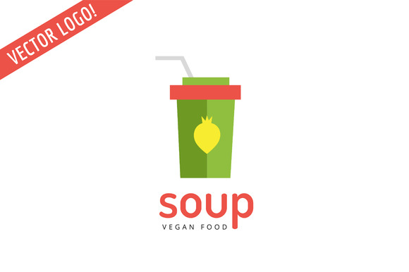 Vegan Eco Nature Soup Pack Logo Icon